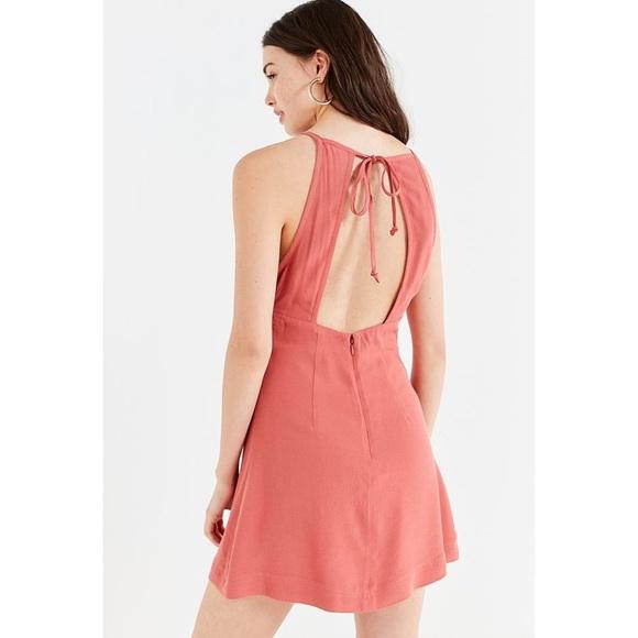 Brand New UO Mabel Pink HighNeck Empire Mini Dress